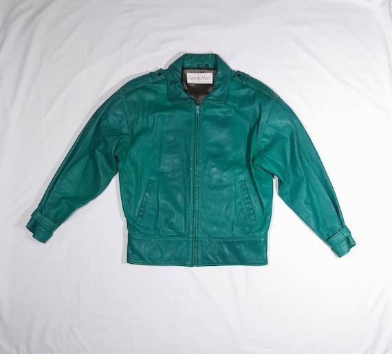 Vintage 90's Teal Green Leather Jacket