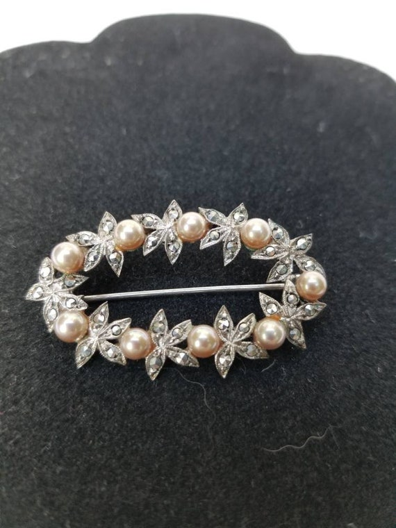 Vintage Silver Marcacite Pearl Brooch Pin