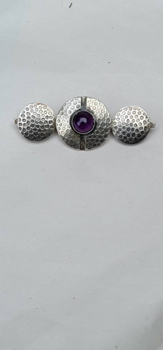 Mid Century Modern Amethyst and Sterling Pin