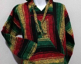 Messicano BAJA jerga naturale e nero con Cappuccio Hippie maglia