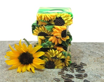 Sunflowers, handmade soap with Tussah silk and hops extract