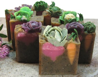 Garden Veggies handmade soap with coffee and coffee grounds