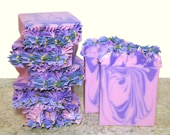 Lavender handmade soap with Tussah silk