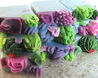 Succulents in Pot, handmade soap with piped succulents, ideal for gifts