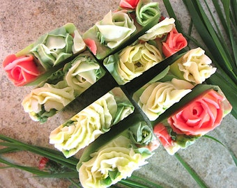 Wild Grass and Roses, handmade soap with Tussah silk and Aloe Juice, hand piped white soap Roses