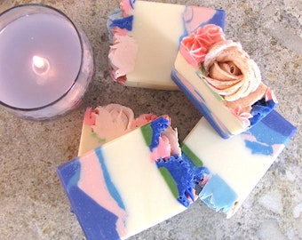 Spring Breath, handmade piped flower soap with fresh scents