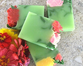 Green Lush, Handmade soap with piped soap flowers