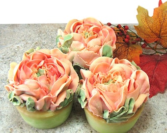 Soap Flower Bouquet, Hand Piped Cold Process Soap Roses, 7.9oz