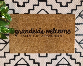 Grandkids Welcome Doormat | Family Doormat | Cute Gift | Grandparents | Boho | Modern Farmhouse