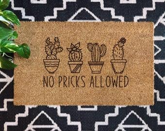 No Pricks Allowed | Plant Doormat | Plant Lover Doormat| Funny Doormat | Cactus Doormat | Housewarming Gift | Funny Home Gift
