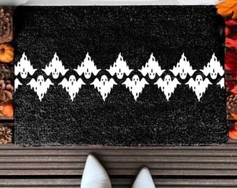 Ghost Pattern Doormat | Halloween Doormat | Welcome Mat | Fall | Halloween Decor | Spooky | Outdoor Mat