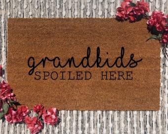 Grandkids Spoiled Here Doormat | Mother's Day | Grandma Gift | Home Decor | Modern Farmhouse | Boho