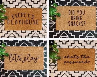 Mini Playhouse Doormat | Kid's Doormat | Personalized Name | Funny Mat | Kid's Gift | Home Decor | Modern Farmhouse | Boho