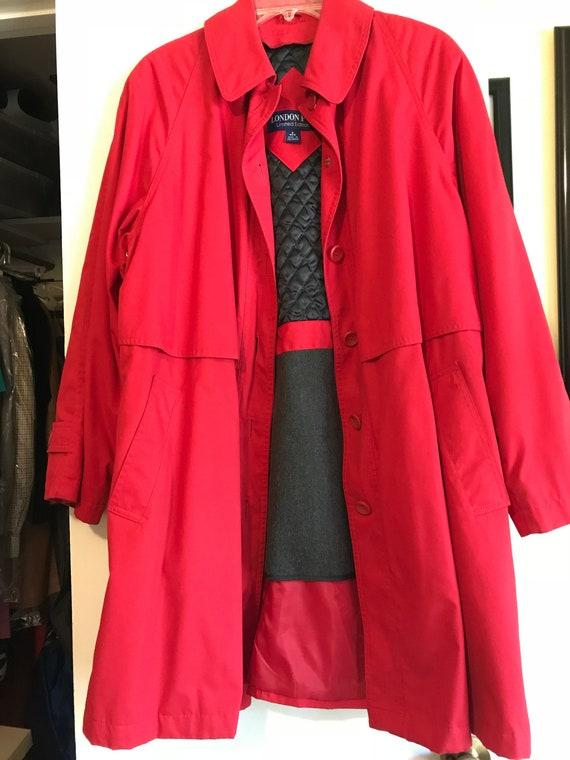 Vintage Red London Fog Trench Coat