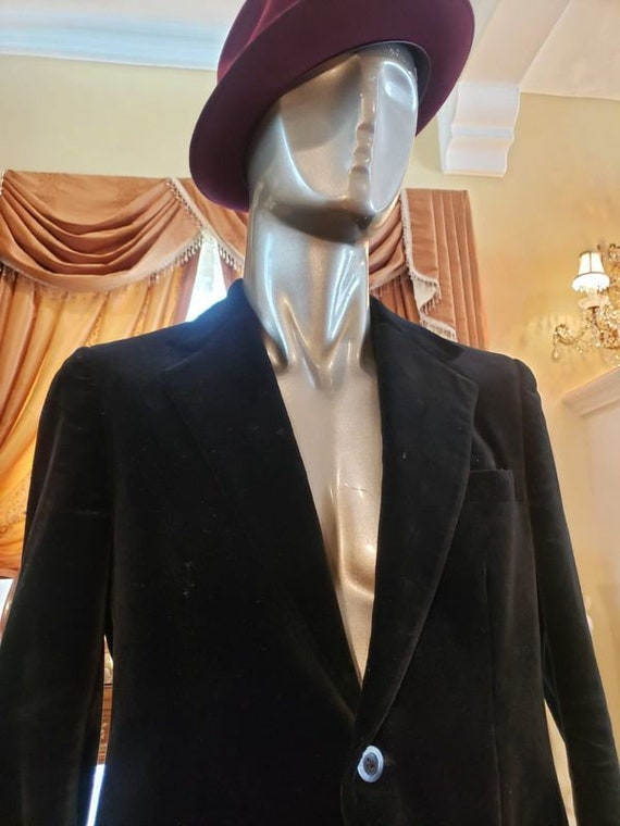 Vintage Velvet Black Dapper Fashion Blazer with R… - image 1
