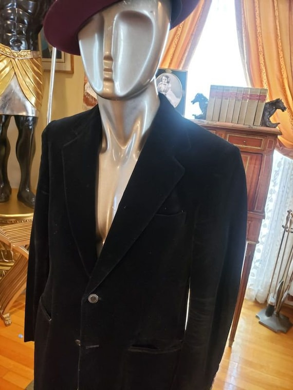 Vintage Velvet Black Dapper Fashion Blazer with R… - image 3