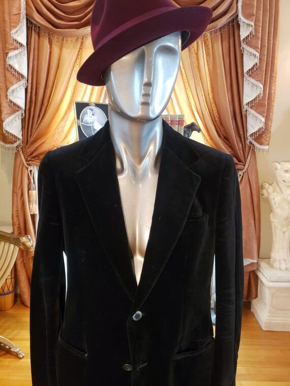 Vintage Velvet Black Dapper Fashion Blazer with R… - image 2