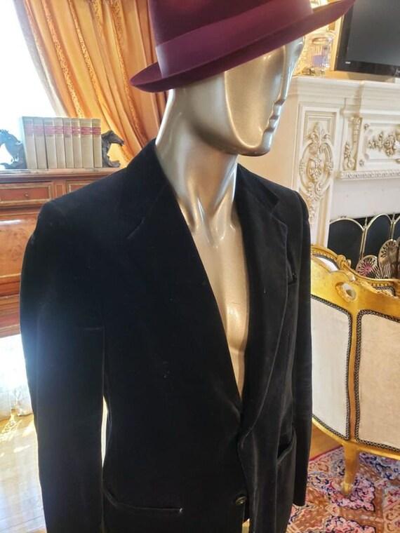 Vintage Velvet Black Dapper Fashion Blazer with R… - image 5