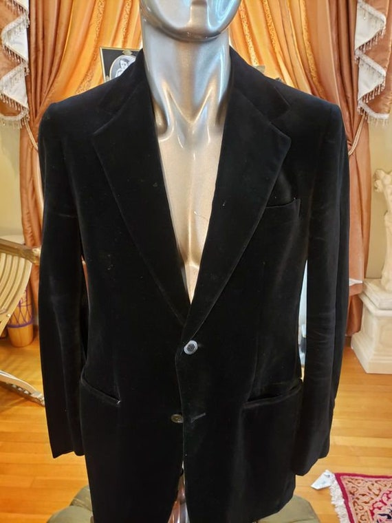 Vintage Velvet Black Dapper Fashion Blazer with R… - image 4