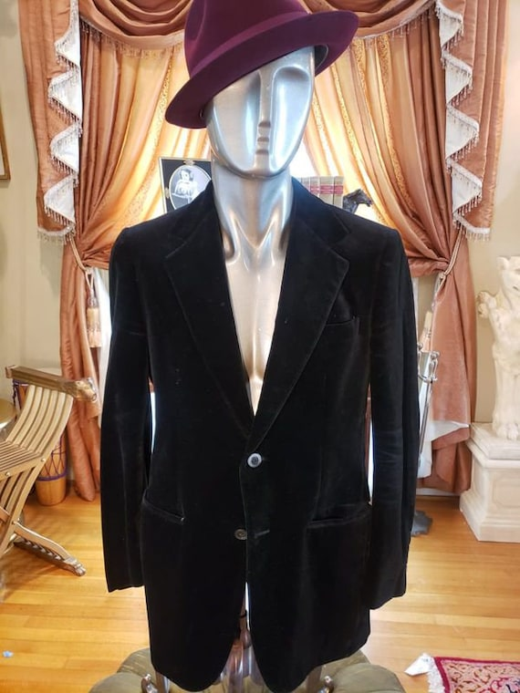 Vintage Velvet Black Dapper Fashion Blazer with R… - image 6