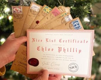 The Original Santa Claus Letter, Personalized Letter From Santa Father Christmas Letter, Letter From Santa Claus - Nice List Certificate