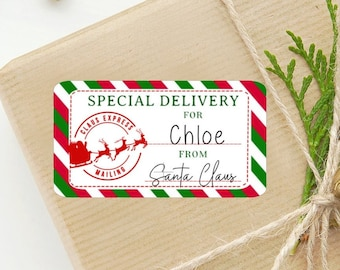 Christmas Gift Label - Sheet of 10 Personalized Stickers - Special Delivery From Santa - Free US Shipping - Custom Christmas Holiday Sticker