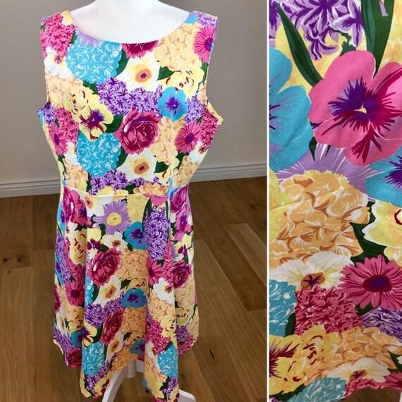 Vintage Floral A-Line Dress Size 2X