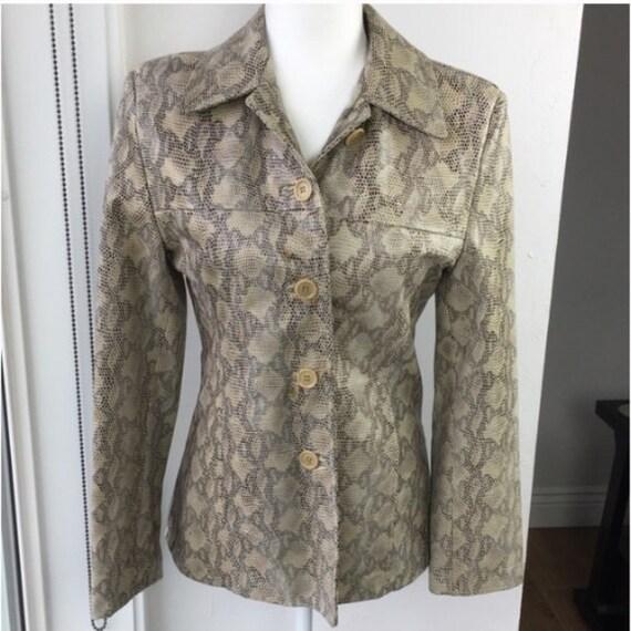 Italian Leather Jacket Python Snakeskin Print