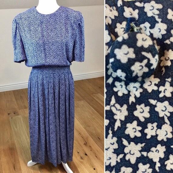 Vintage 80's Karin Stevens Rayon Midi Floral Dress