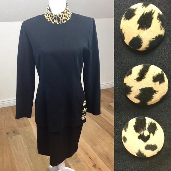 Vintage 90's Depeche Mode Leopard Black Dress Size