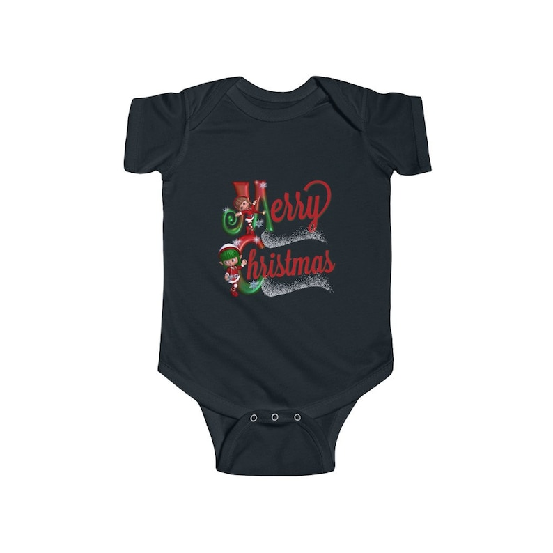 Merry Christmas Elves Infant Fine Jersey Bodysuit! Baby babe cute adorable little tiny mom mother holiday feast free shipping Santa helpers