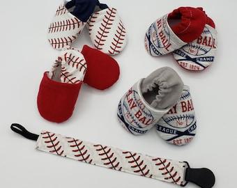 Baseball pacifier holder monogram custom boy baby paci clip cute white red homemade cotton gift baby shower gift