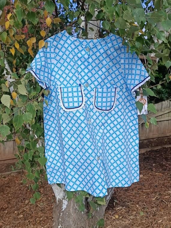 Vintage Blue Floral Housecoat