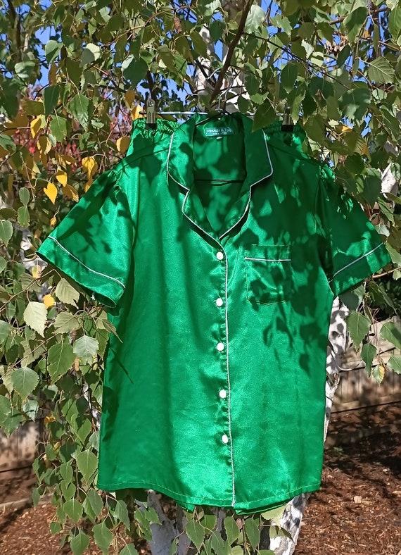Vintage Emerald Green Satin Pajamas