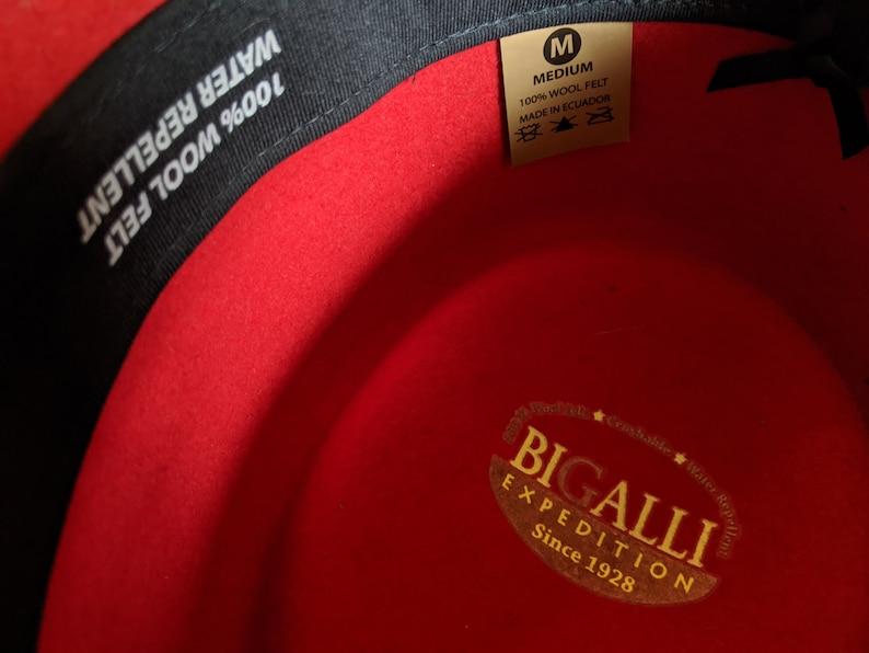 Red Adventurer Hat Unisex 100/% Wool Bigalli Panama Hat Western Cowboy Stockman Fedora Gambler