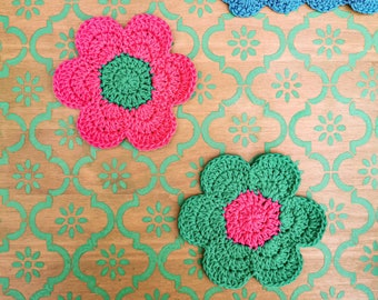 flower power crochet coasters - cotton, bright, bold, colourful, handmade, gift, home, deco