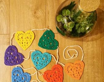 Love hearts garland - crochet, bunting, cotton, handmade, rainbow, colours, set of 7