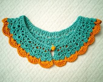 crochet collar - light blue & light orange - handmade, 100% cotton, bicolour, button
