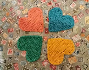 crochet heart coasters - cotton, pastel, rainbow, colours, Valentine, handmade, gift, home, deco
