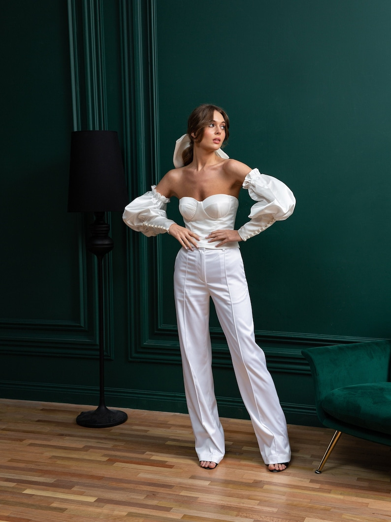 Womens Wedding suit with corset & palazzo pants alternative image 0