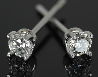 9ct Gold + Genuine High Quality Diamonds/CZ and 925 Silver - 0.20ct Diamond Stud Earrings w/ High Quality Diamonds in White, Yellow, Rose