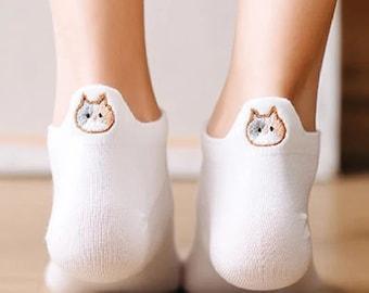 Cat Socks Embroidery Ankle Socks  Women  Cat Owner Gift  Letterbox Gift  Gift for her  Friend Gift Christmas Filler Gift Secret Santa Women