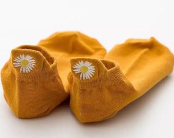 Daisy Embroidery Ankle Socks  Cotton Socks  Women Socks  Gift for her  Flower Socks  Funny Socks Flower Socks Christmas Gift