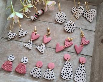 Dalmatian Print Earrings Polymer Clay Earrings // Polymer Clay Earrings // Silk Screen Earrings //  Polymer Earrings // Polymer Clay