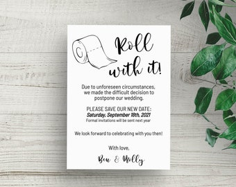 Change of Plans Wedding Roll With It Toilet Paper Change of Date Wedding Postponement Editable Instant Download Changing The Date Postponed