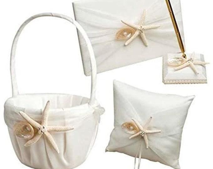 4 Pcs/lot Beach Theme Starfish Seashell Design Wedding Ring Pillow +Girls Flower Basket+Guest Book +Pen Set for Romantic Wedding Ceremony