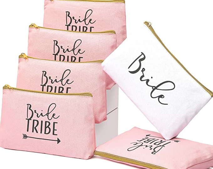 6 Piece Set   Rose Gold Bride Tribe Canvas Cosmetic Makeup Clutch Gifts Bag for Bridesmaid