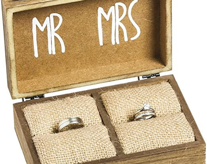 """Mr. and Mrs. Wooden Ring Holder Decorative Box - 5""""W x 6""""D x 2""""H"""