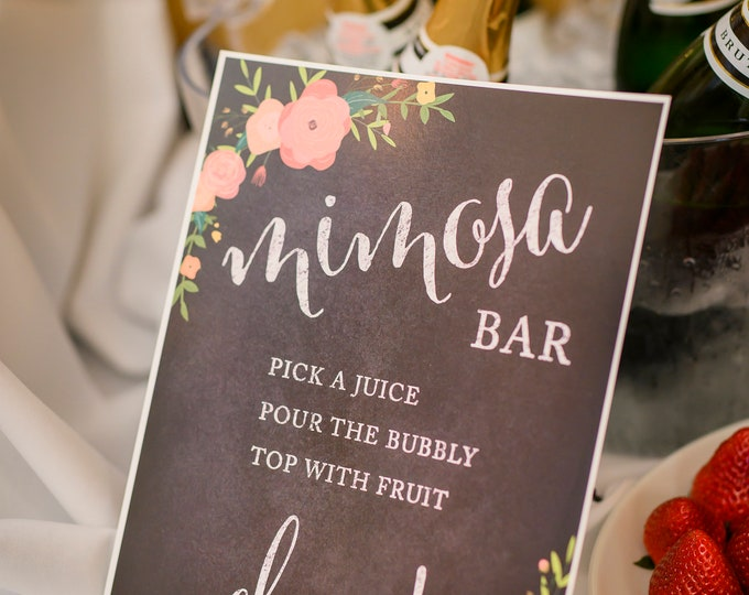 Wedding Party Signs, Print, 8.5x11-inch, Build Your Own Mimosa Sign Pick a Juice, Pour The Champagne Cheers! Dessert Table Sign, 1-Pack