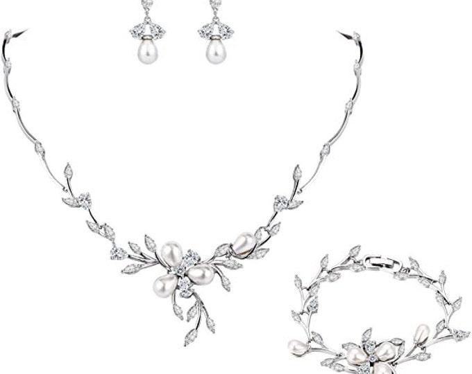 Marquise CZ Simulated Pearl Bridal Flower Leaf Filigree Necklace Earrings Bracelet Set